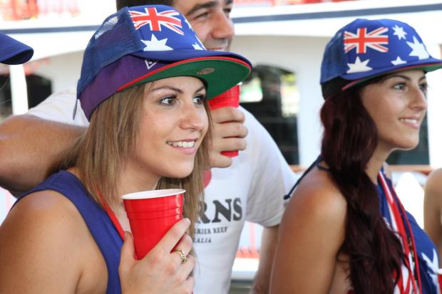 australia day hat red cup girl
